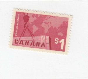 CANADA (MK3264) # 411  VF-MNH  $1 CRANE & MAP / ROSE CARMINE CAT VALUE $12