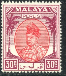 MALAYA PERLIS 1952-55 30c RAJA SYED PUTRA Portrait Issue Sc 26 MNH