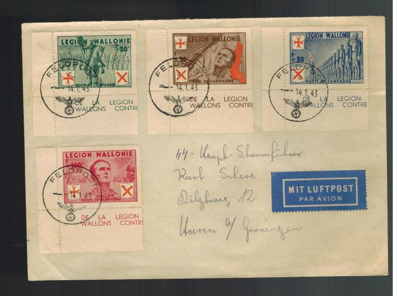 1943 Belgium Cover Waffen SS Walloon Legion Volunteer to Groningen Holland w Tab