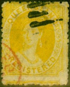 Queensland 1864 Registered (6d) Orange-Yellow SG49 Fine Used