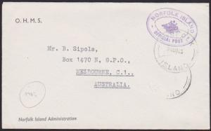 NORFOLK IS 1963 small official cover to Australia..........................67269