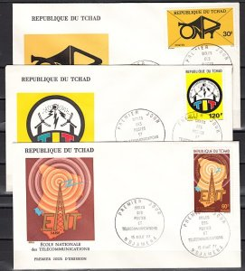 Chad, Scott cat. 335-337. Telecommunications-Radio issue. First Day Cover. ^