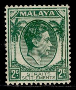 MALAYSIA - Straits Settlements GVI SG279, 2c green, M MINT. Cat £21.