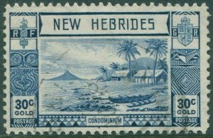New Hebrides 1938 SG57 30c blue Islands Canoes FU