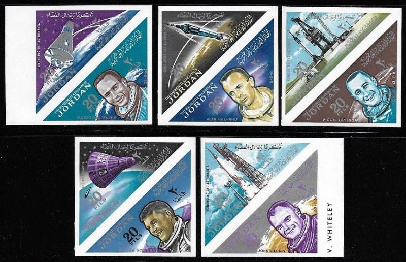 Jordan 1964 Astronaut Space Set #435a-435j IMPERF in PAIRS VF-NH