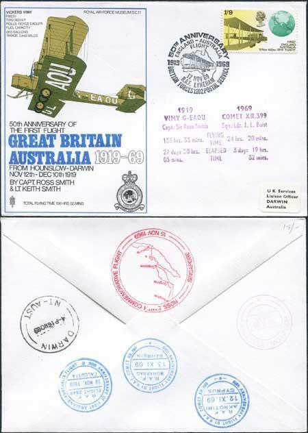 SC11a 50th Ann of the 1st Flight Great Britain - Australia Standard Cover