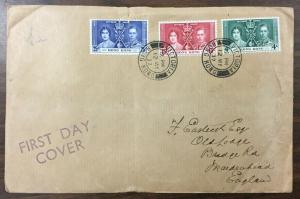 HONG KONG, 1937 KGVI Coronation First Day Cover, Large Size cover. (BJS)