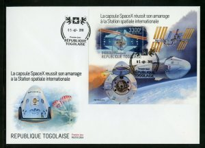 TOGO 2019 SPACEX RENDEZVOUS WITH THE INT'L SPACE STATION  S/SHEET FDC