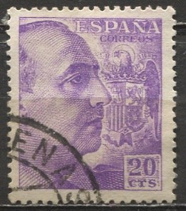 Spain; 1949; Sc. # 693a; O/Used Single Stamp w/o Imprint, Perf 13 x 13 1/4