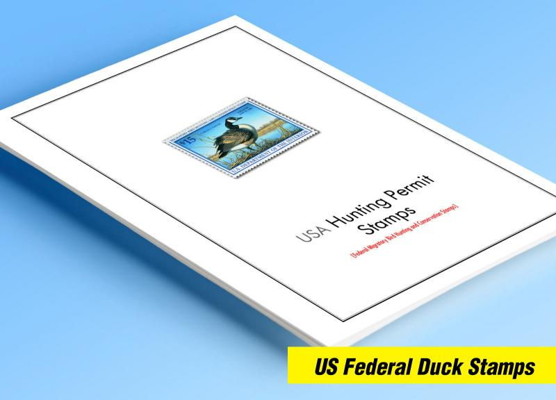 COLOR PRINTED USA FED. DUCK STAMPS 1934-2018 STAMP ALBUM PAGES (44 illus. pages)