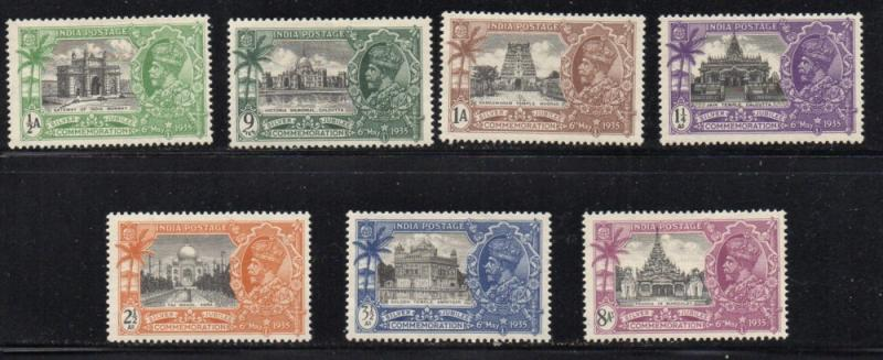 India Sc 142-8 1935 Silver Jubilee G V stamp set mint