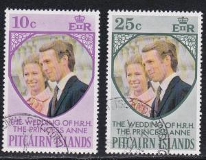 Pitcairn Isl. # 135-136, Princess Anne, Used, Half Cat.