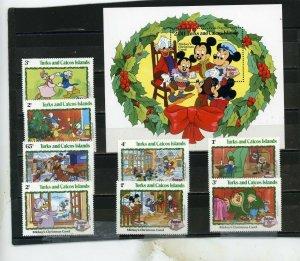 TURKS & CAICOS 1982 DISNEY CHRISTMAS SET OF 8 STAMPS & S/S MNH