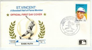Baseball Hall Of Fame BABE RUTH NY YANKEES Stamp + Cacheted FDC