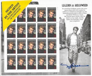 3802 MNH, James Dean, Full Sheet, Signed by Artist, Original P.O. Packaging