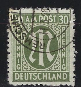 Germany AM Post Scott # 3N14, used, variation perfs + paper, experts h/s