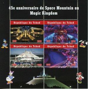 Chad Disney Stamps 2020 CTO Space Mountain Magic Kingdom 45th Anniv 4v M/S