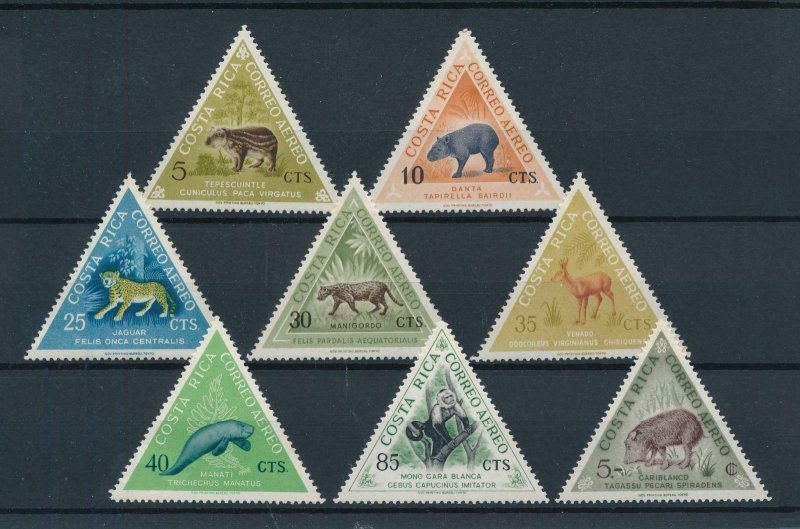 [104327] Costa Rica 1963 Animal wild life tapir jaguar manatee Triangles MNH