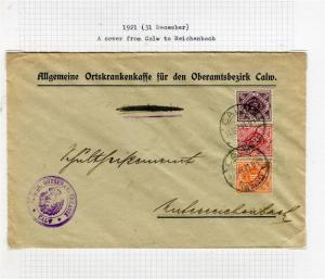 GERMANY; WURTTEMBERG 1921 fine COVER from Calw-Reichenbach