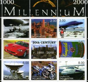 Tadjikistan 1999 Millennium 20th Century Ferrari sheet Perforated mnh.vf #1