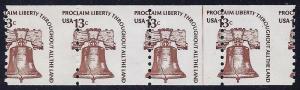 1618 - 13c Misperf  Error / EFO Line Strip of 4 Liberty Bell Mint NH