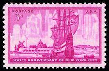 SCOTT # 1027 NEW YORK CITY ANNIVERSARY SINGLE GEM  MINT NEVER HINGED  !!