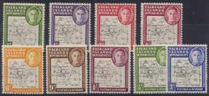 FalklanIs. Depend. 2010 SG #G1, G4 & G9/G16 Mint Set of Nine F-VF-LH
