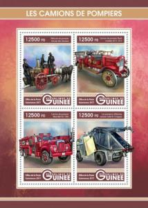 GUINEA - 2017 - Fire Engines - Perf 4v Sheet - M N H