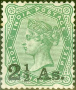 India 1891 2 1/2a on 4 1/2a Yellow-Green SG102 Fine Lightly Mtd Mint