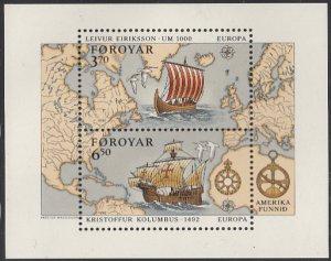Faroe Islands 1992 MNH Sc #238 Sheet of 2 Erikson, Columbus, Ships EUROPA