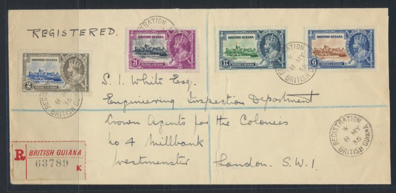British Guiana SG 301-304 on envelope  (Sc# 223-226 see details)