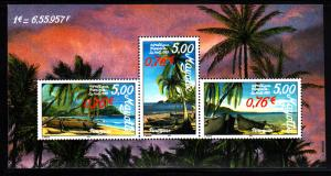 Mayotte MNH Scott #129 Souvenir sheet of 3 different Island scenes with pirog...