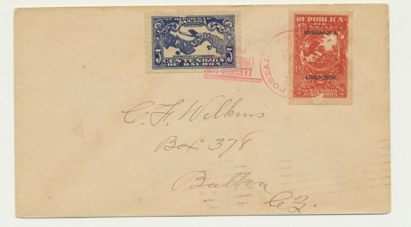 PANAMA CANAL ZONE 1928 COVER ANCONA TO BALBOA, WITH LINDBERGH IMPERF ISSUES