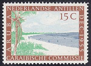 Netherlands Antilles # 233 hinged ~ 15¢ Beach