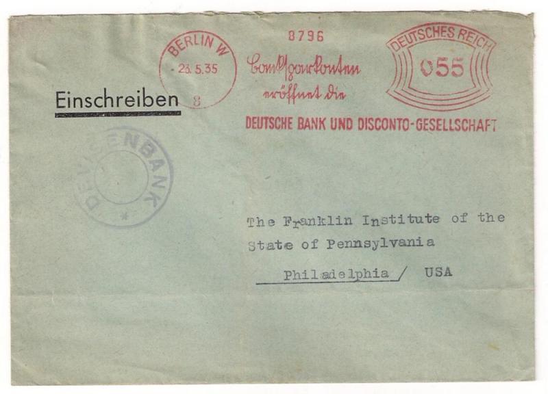 GERMANY: 1935 Reich meter stamp w slogan Deutsche Bank to US / HipStamp