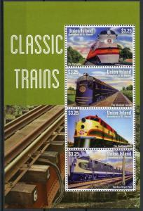 Union Island Gren St Vincent 2014 MNH Classic Trains Hiawatha Belle 4v MS Stamps