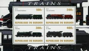 Burundi Train Transportation Locomotive Souvenir Sheet of 4 Stamps Mint NH