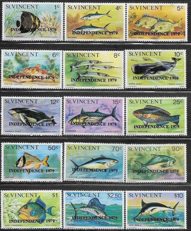 St Vincent 1979 Fish and Whales SC#572-586 Mint Never Hinged // Original Gum