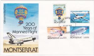 Montserrat 503-506 Set FDC Aircrafts