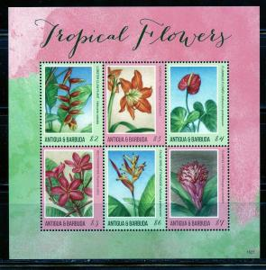 ANTIGUA  2019 TROPICAL FLOWERS  SHEET  MINT NEVER HINGED