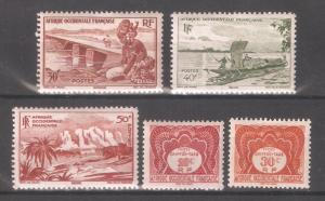 French West Africa 1947,5 stamps,Sc 37-39,,Sc J1-J2,F-VF Mint Hinged* (SL-1)