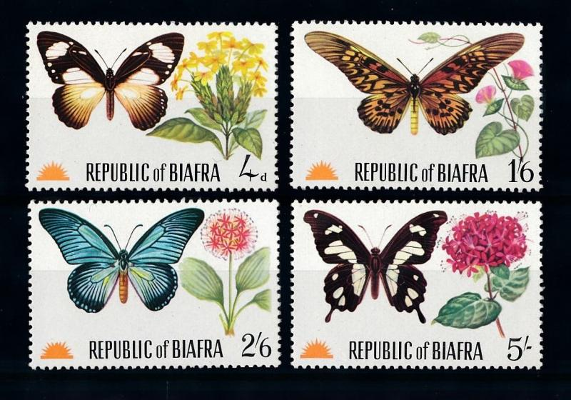 [70930] Biafra Nigeria 1968 Insects Butterflies Flowers  MNH