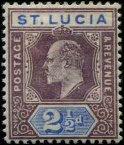 St Lucia SC# 46 Edward VII 2-1/2d MH SCV $40.00 with mount