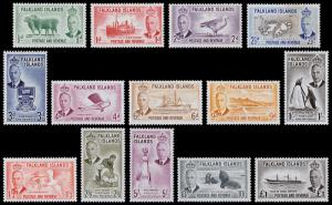 Falkland Islands Scott 107-120 (1952) Mint LH VF Complete Set, CV $209.65 B