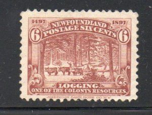 Newfoundland Sc 66 1897 6 c red brown logging stamp mint NH