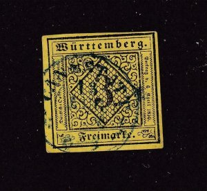 GERMANY WURTTEMBERG # 2-2a VF-IMPERFS CAT VALUE $1035