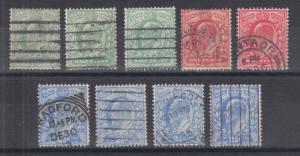 Great Britain Sc 127//130 used 1902-11 KEVII, all diff shades & printings