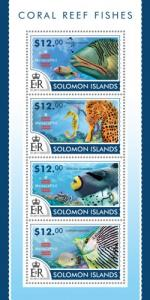 SOLOMON ISLANDS 2015 SHEET CORAL REEF FISHES MARINE LIFE slm15209a