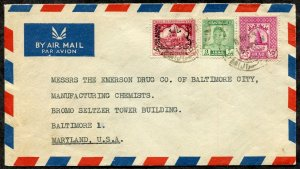 *p248 - IRAQ 1949 Palestine Aid Stamp on Airmail Cover to Emerson Drug Co USA