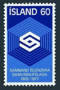 Iceland 501 two stamps, MNH. Michel 525. Cooperative Society, 75th Ann. 1977.
